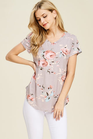 Spring Is In The Air Floral Taupe V Neck Top