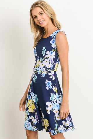 Stepping Into Spring Navy Floral A-Line Dress