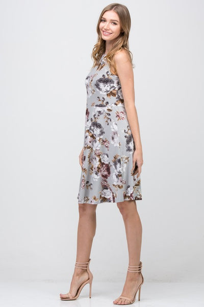 Floral Print Gray Sleeveless A-Line Dress