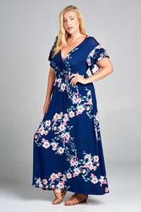 Stunning Blue Floral Faux Wrap Maxi Dress Plus Size
