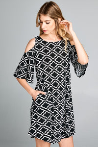 Black and White Geometric Open Shoulder Dress Tunic With Pockets