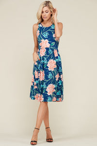 Gorgeous Blue and Coral Floral Sleeveless Dress