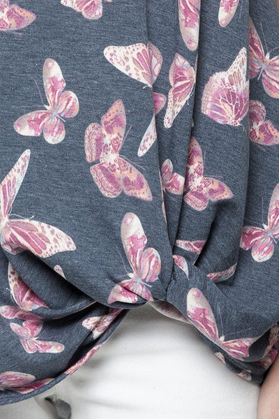 Butterfly Print Pink & Blue Top with Side Twist