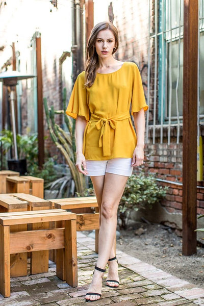 Classy Bell Sleeve Top with Bow Detail in Mustard