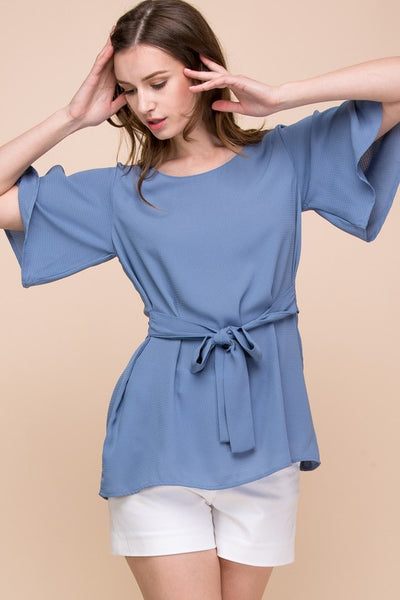 Classy Bell Sleeve Top with Bow Detail in Blue