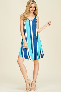 Vertical Stripe Tank Dress in Blue
