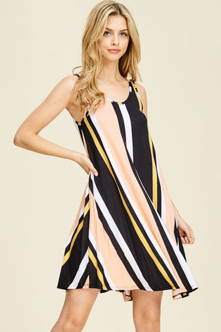 Vertical Stripe Tank Dress in Black and Peach