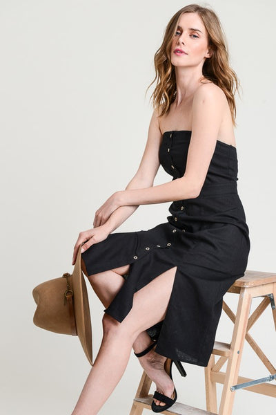 Sexy Strapless Black Linen Button Down Dress With Side Slits and Pockets