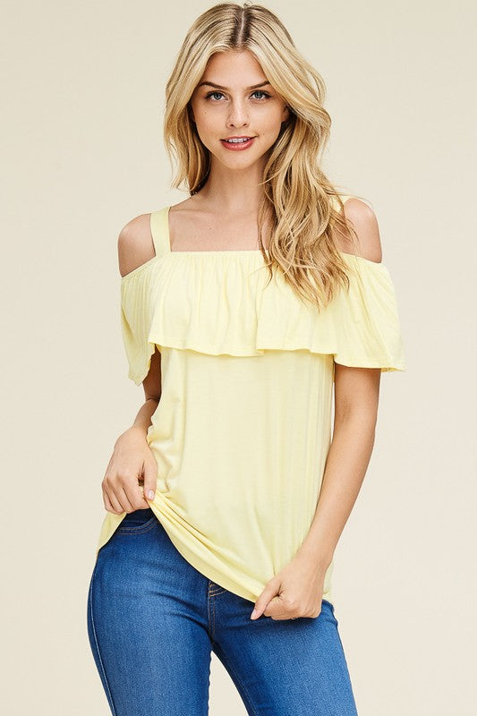 396588bdc1af9 Sweet Spaghetti Strap Off Shoulder Top in Yellow – Juliette s Jewels