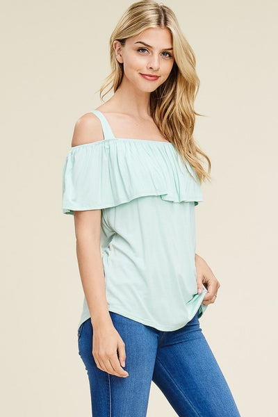 Sweet Spaghetti Strap Off Shoulder Top in Mint