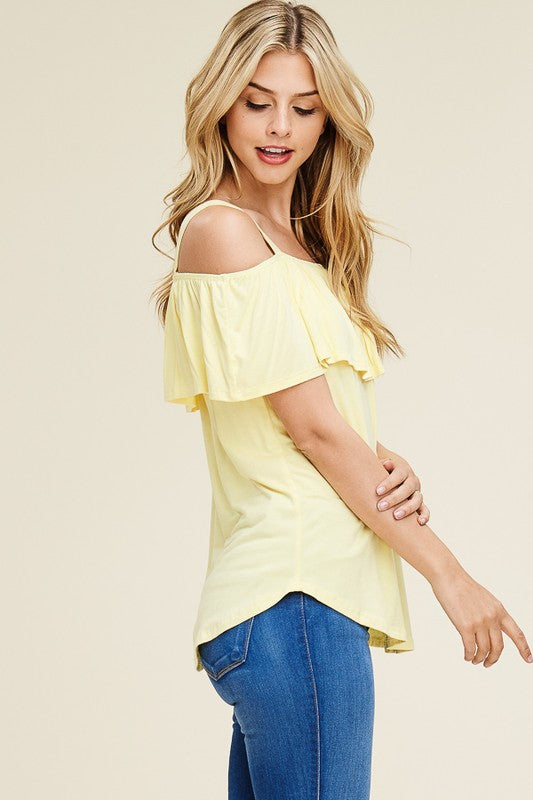 5cf1d3623331a ... Sweet Spaghetti Strap Off Shoulder Top in Yellow. Juliette s Jewels