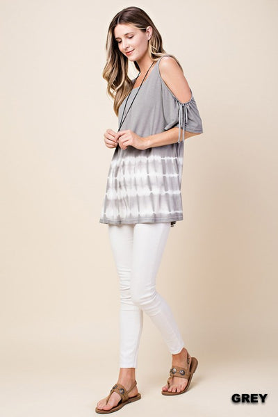 Tie Dye Gray Open Shoulder With Ties Top