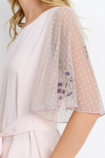Elegant Blush Top With Mesh Bell Sleeves and Bow Accent