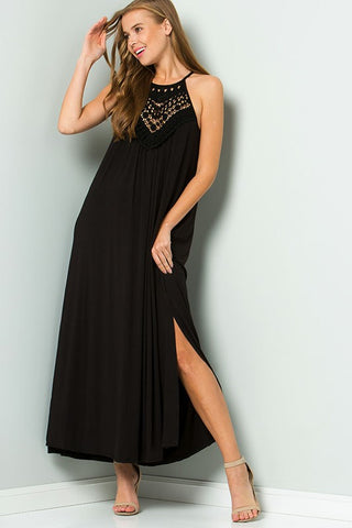 Crochet Detail Maxi Dress in Black