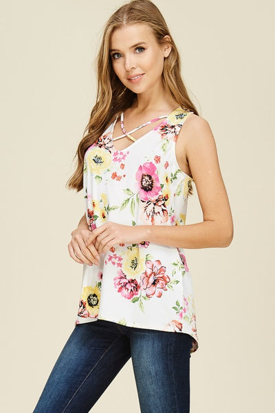 Floral Tank with Subtle High Low Hem and Criss Cross Neckline in White