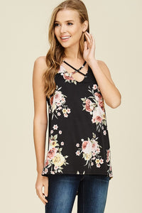 Floral Tank with Subtle High Low Hem and Criss Cross Neckline in Black
