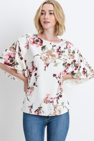 Floral Bell Sleeve Top Gorgeous Design