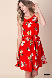 Red Floral Crepe Dress With Tie
