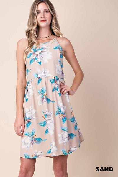 Sand & Turquoise Floral Crepe Dress With Tie