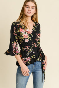 Take Time To Smell The Roses Wrap Top
