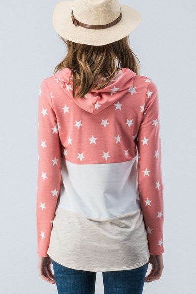 Be A Star Color Block Coral & Tan Hooded Pullover Top
