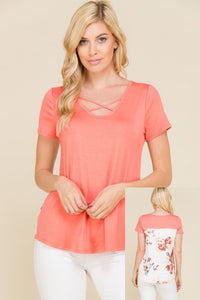Cute in Coral Criss Cross Floral Back Short Sleeve Top