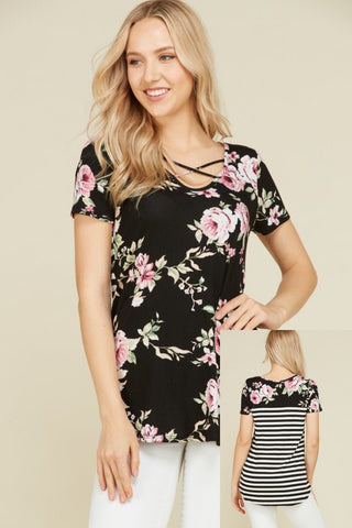 Sweet and Sassy Black & Pink Floral Criss Cross Top With Stripe Accent