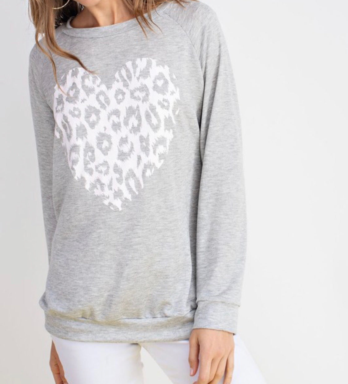 Love Always Finds A Way Gray Heart Animal Print Top