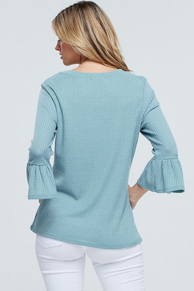 Sage Waffle Top With Bell Sleeves and Button Accents