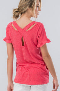 Ruffle Coral Teardrop Criss Cross Back Short Sleeve Top