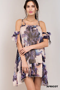 Watercolor Chiffon Tie Tunic or Dress Boho Style