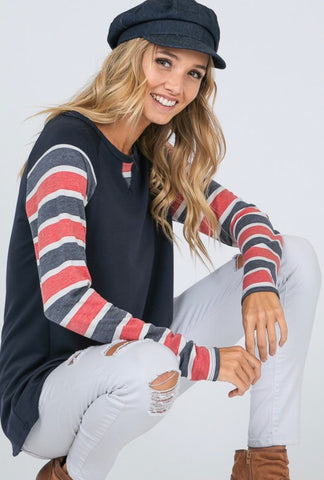 Beyond the Horizon Navy Striped Pullover Top