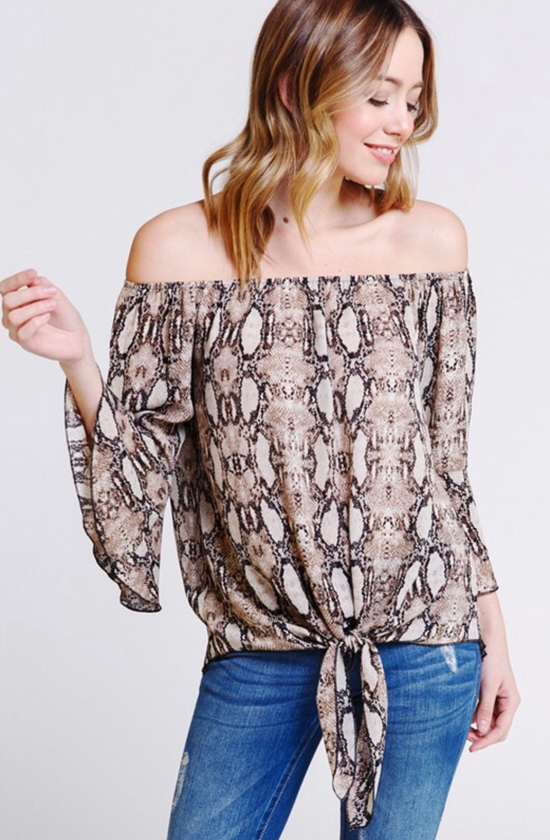 Sexy Snakeskin Off The Shoulder Top