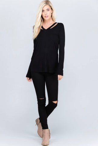 Double Trouble Black V Neck Top