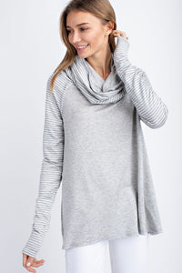 Breathe Freely French Terry Pullover with Striped Sleeves in Gray