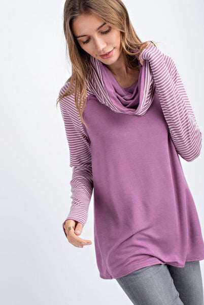 Breathe Freely French Terry Pullover with Striped Sleeves in Violet