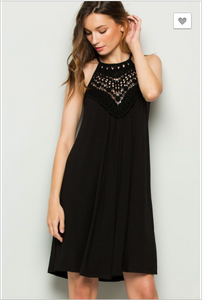 Crochet Detail Black Dress with Spaghetti Straps
