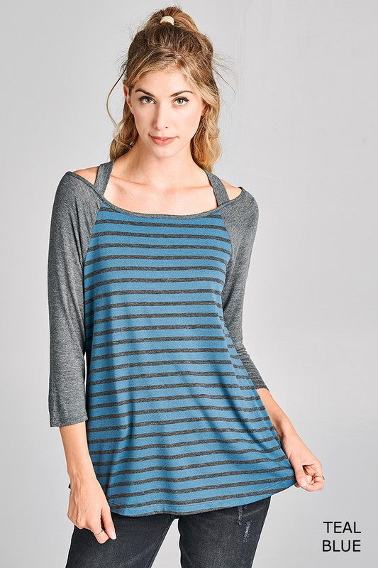 Striped Criss Cross Halter Style Top in Blue
