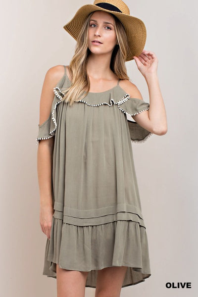 Olive Cold Shoulder Spaghetti Strap Ruffle Dress
