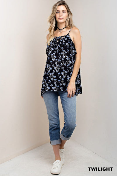 Lace Up Spaghetti Strap Floral Print Top