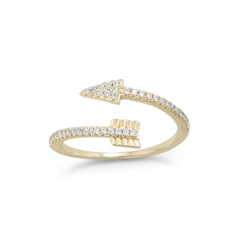 14 Karat Gold Plated Sterling Silver CZ Arrow Wrap Ring