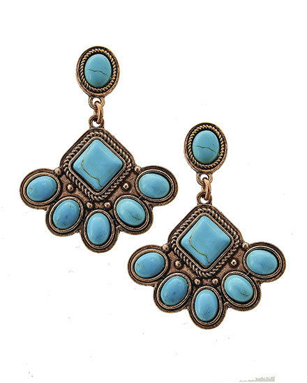 Burnished Copper Tone Turquoise Pierced Earrings