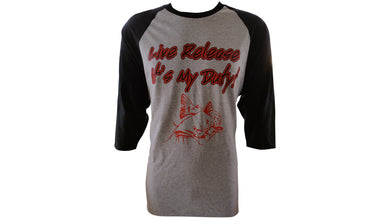Mens Live Release Baseball TEE- Grey/Black - Krusher Marine Products