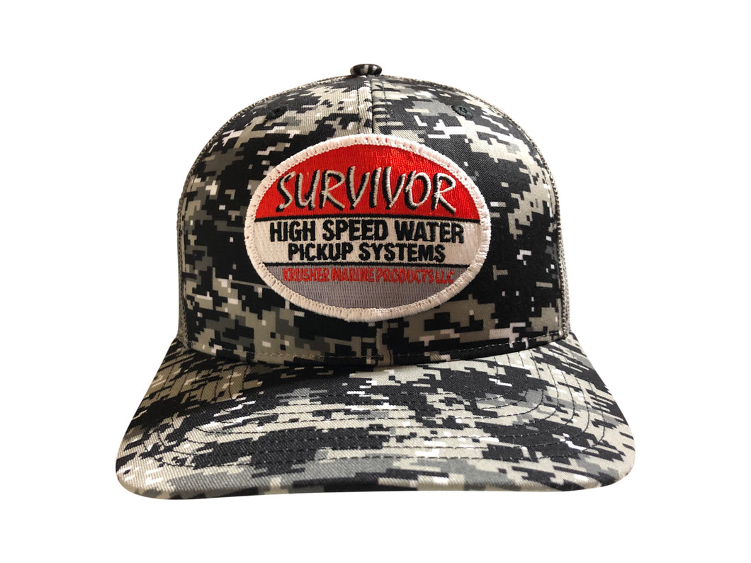 Survivor Black/Gray Digi Camo Snap back - Krusher Marine Products