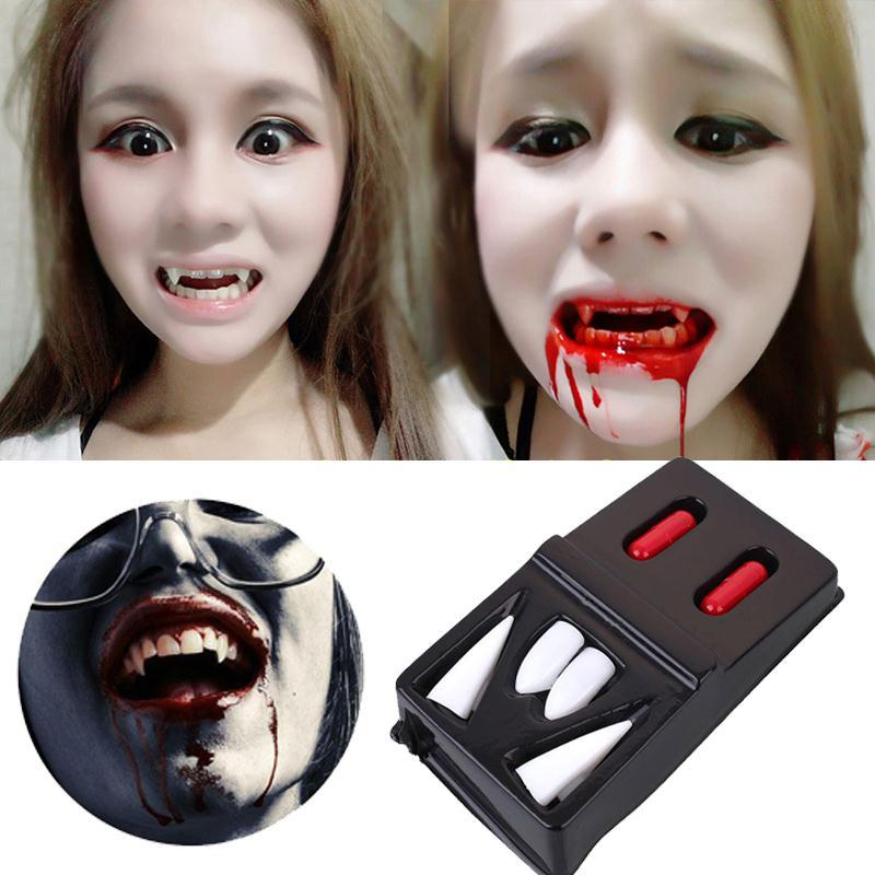 4 fausses dents de vampire+ faux sang