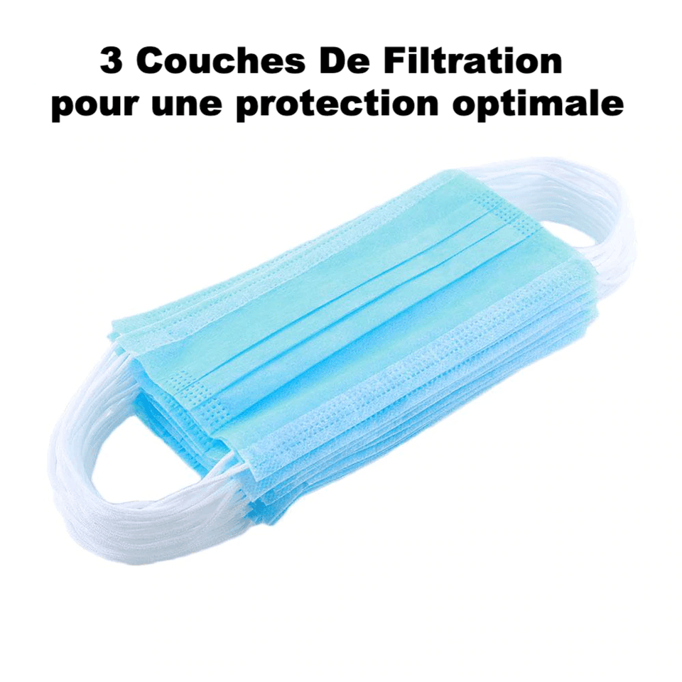 Lot de 20 masques antivirus à trois couches de niveau medical