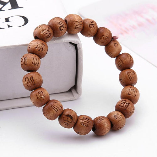 bracelet en bois tibétain marron