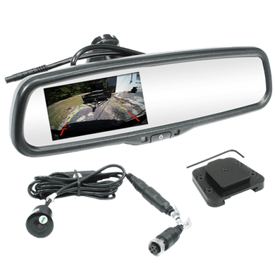 Back Up Camera System with Monitor in Replacement Rear View Mirror & Installation Package