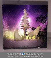 Morning Light - Large Square Candle Holder with Wolves