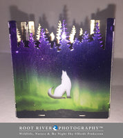 Candelabra - Small Square Candle Holder with Wolf